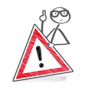 Mann mit Warndreieck - Vorsicht bei Entfernung der Arschhaare